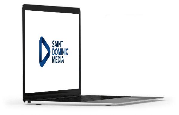 Laptop with Saint Dominic Media Logo