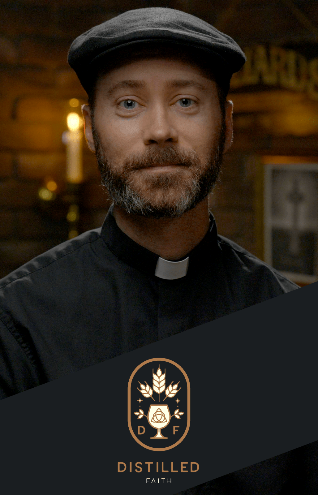 Priest with cool hat in pub